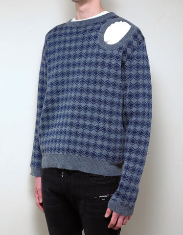Raf Simons Blue Jacquard Sweater with Cutout