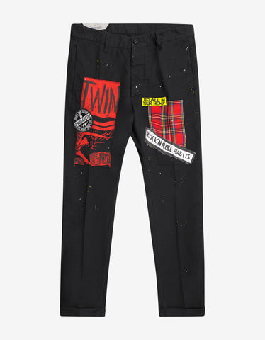 Dsquared2 Black Multi-Patch Chino Hockney Pants