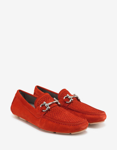 Salvatore Ferragamo Red Parigi Suede Leather Driving Shoes