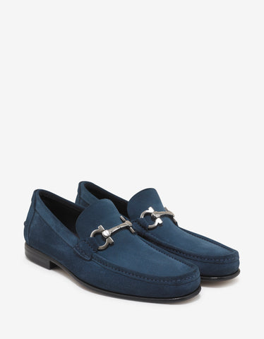 Salvatore Ferragamo Petrol Blue Fiordi Suede Leather Loafers