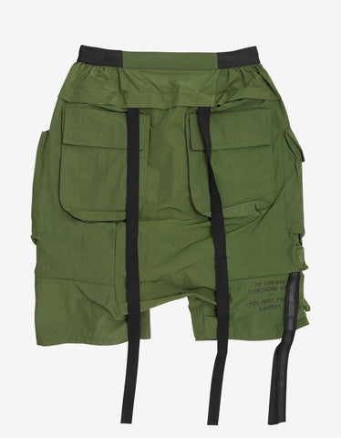 Ben Taverniti Unravel Project Green Nylon Drop Crotch Cargo Shorts