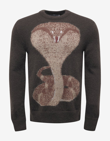 Givenchy Brown Cobra Print Mohair Sweater