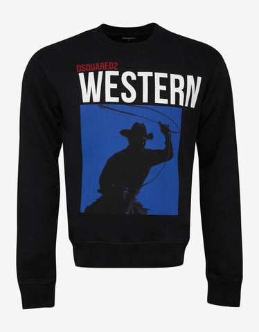 Dsquared2 Black Western Graphic Print Sweatshirt