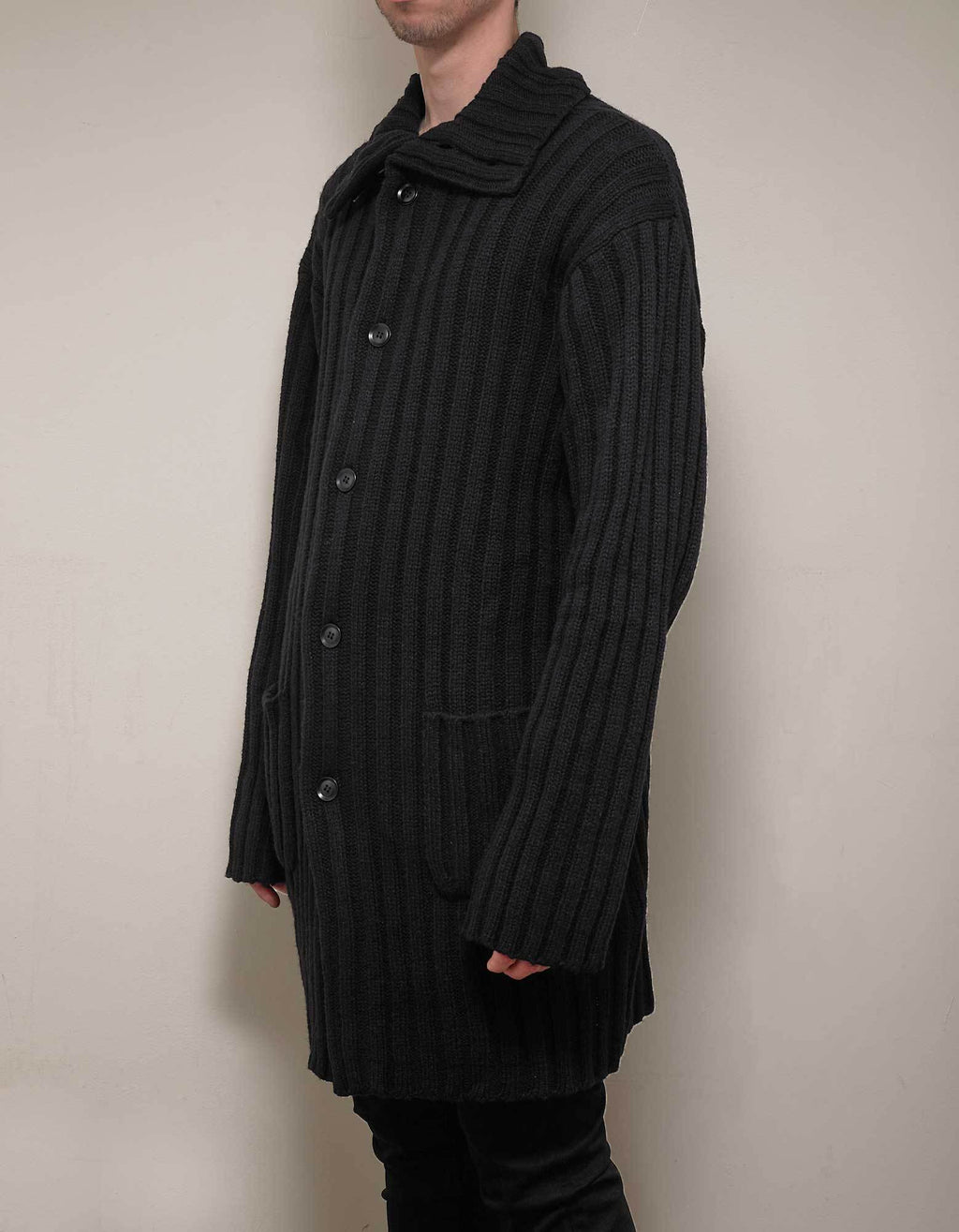 Black Ribbed Maxi Cardigan