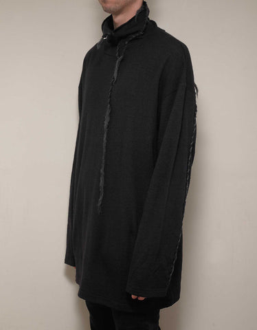 Yohji Yamamoto Black Turtleneck Sweater with Loose Thread Detail