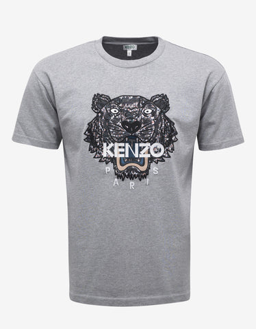Kenzo Grey Tiger Embroidery T-Shirt