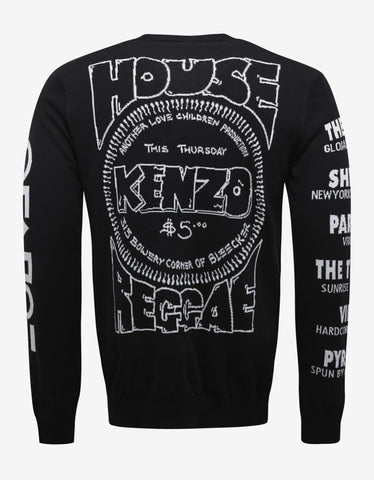 Kenzo Black Flyer Graphic Sweater