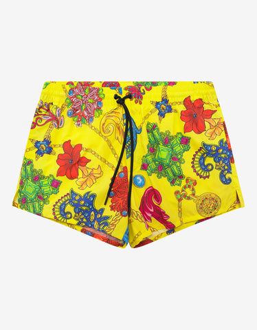 Versace Gym Yellow Gioielleria Jetés Print Swim Shorts