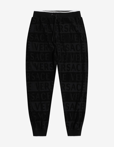 Versace Gym Black Towelling Logo Sweat Pants