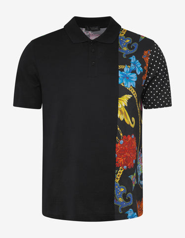 Versace Black Gioielleria Jetés Panel Polo T-Shirt