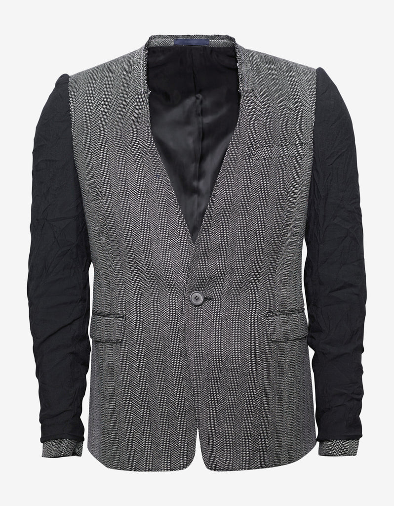 Grey Tweed Blazer with Inside Out Sleeves