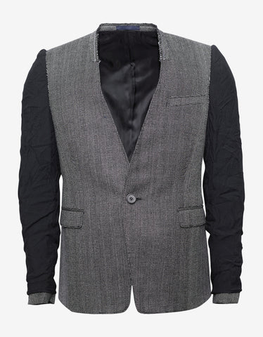 Lanvin Grey Tweed Blazer with Inside Out Sleeves