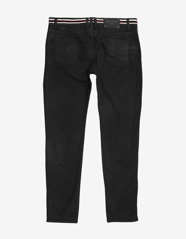 Balmain Black Distressed Jeans with Badge