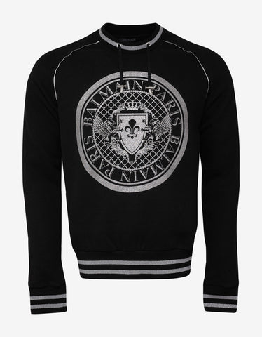 Balmain Black and Silver Medallion Sweatshirt