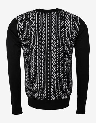 Balmain Black Logo Monogram Wool Sweater
