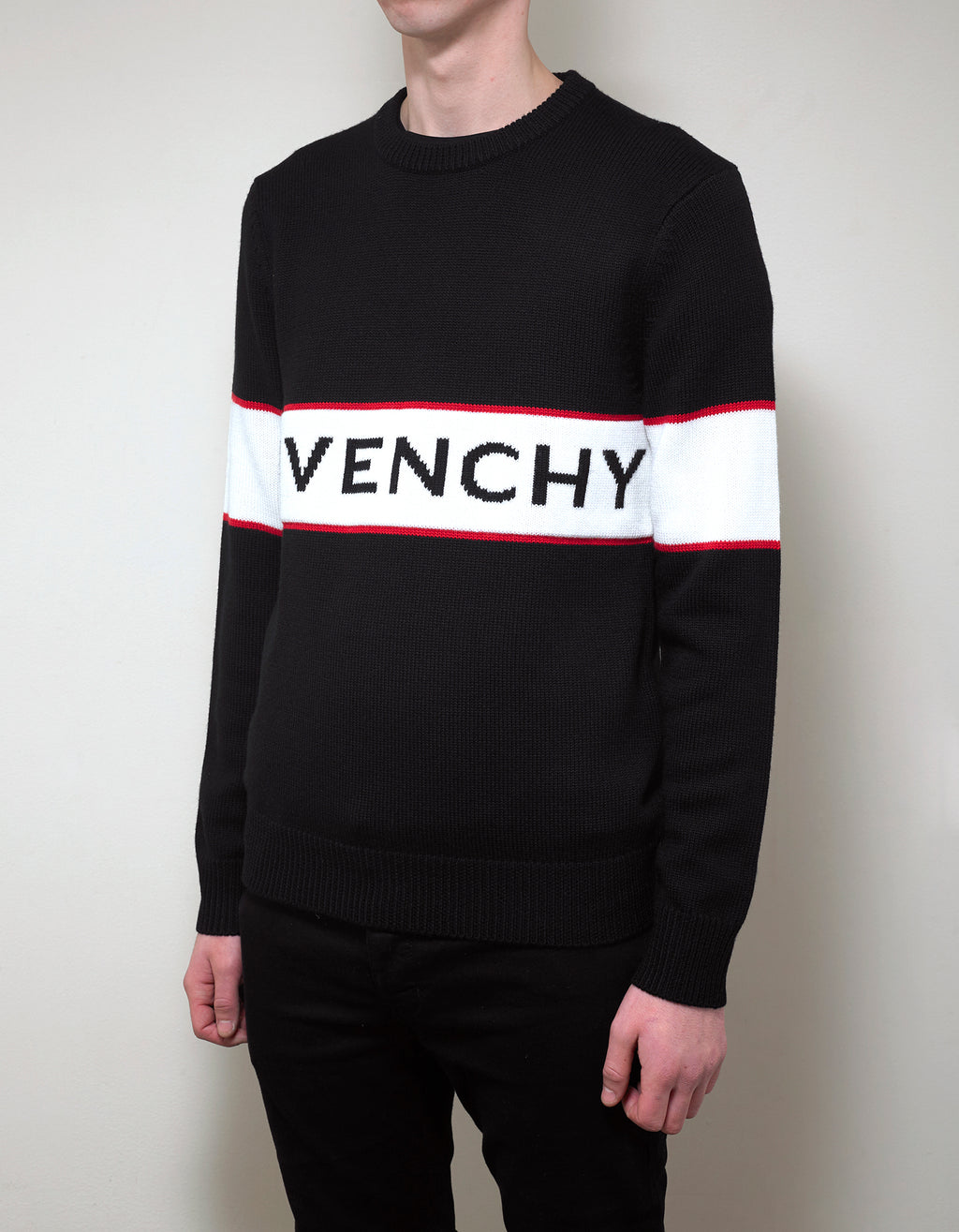 Black Logo Panel Thick Wool Sweater