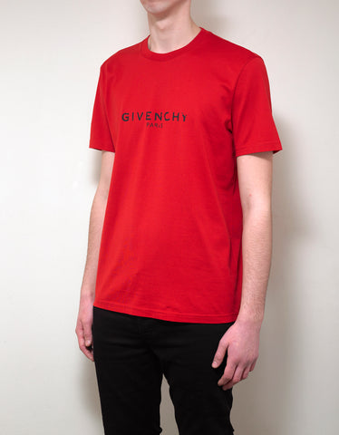 Givenchy Red Cracked Logo Slim Fit T-Shirt