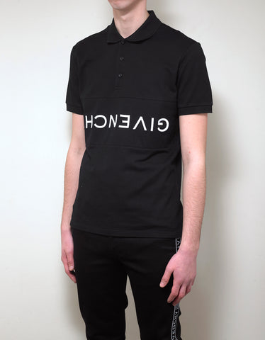 Givenchy Black Upside Down Logo Polo T-Shirt
