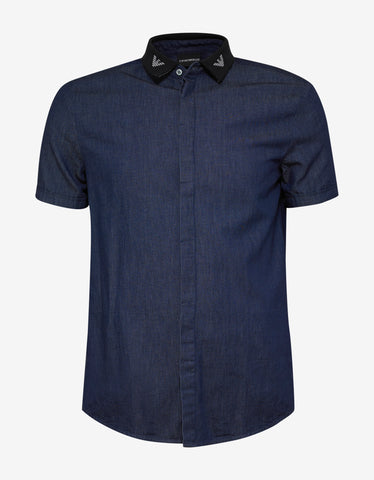 Emporio Armani Blue Denim Shirt with Knitted Logo Collar