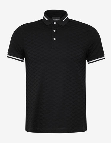 Emporio Armani Black All-Over Eagle Jacquard Polo T-Shirt