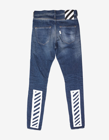 Off-White Brushed Slim Fit Distressed Jeans