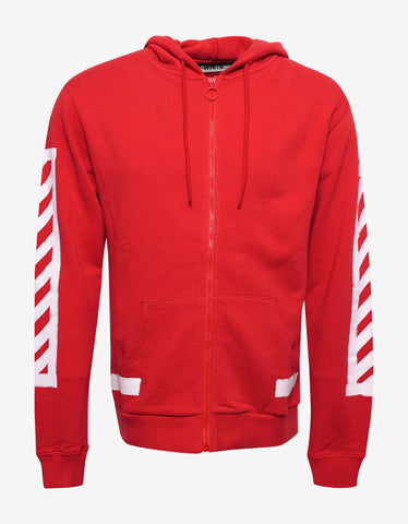 Off-White Brushed Diagonals Red Zipped Hoodie