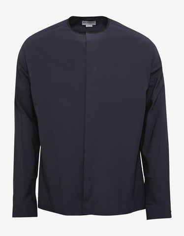 Navy Blue Collarless Shirt
