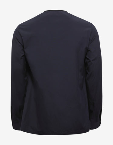 Balenciaga Navy Blue Collarless Shirt