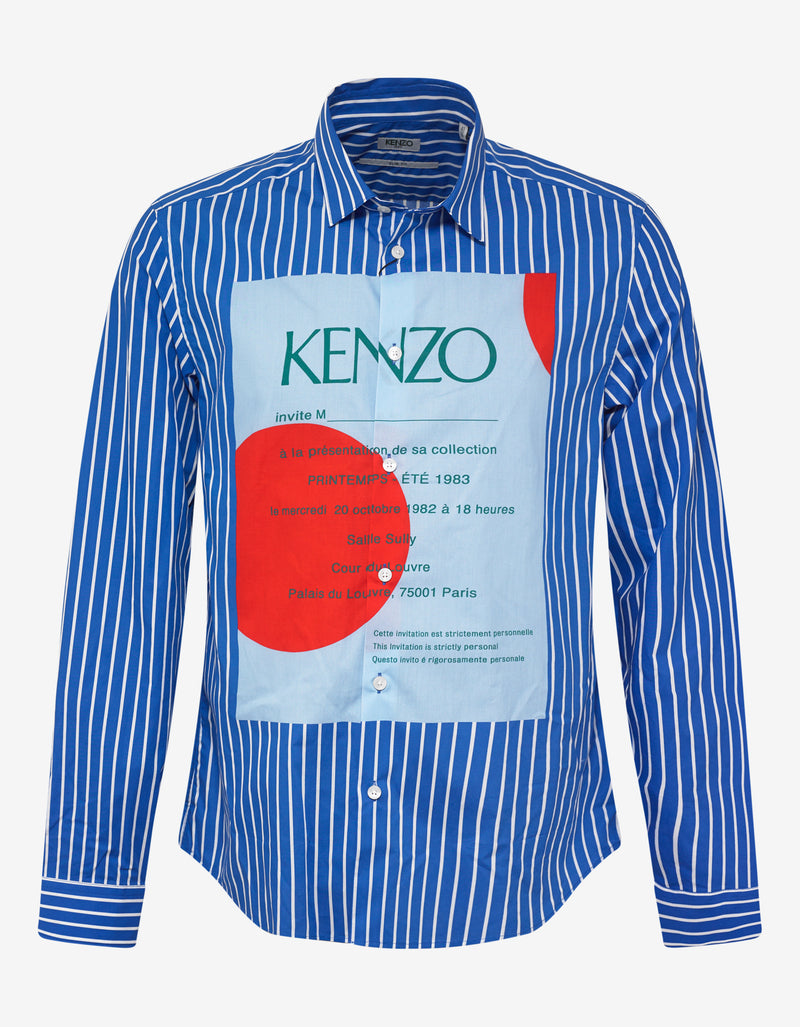 Blue Striped Wedding Invitation Shirt