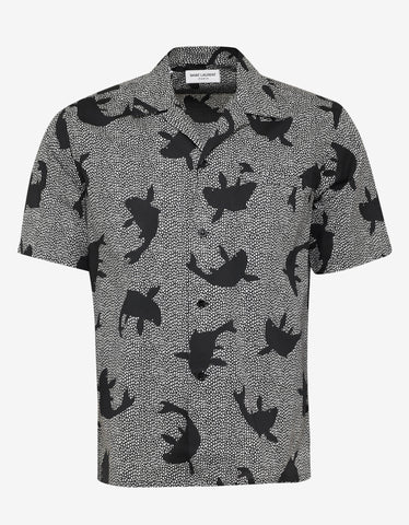 Saint Laurent Black & White Fish Print Bowling Shirt
