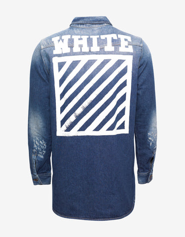 Off-White Brushed Blue Distressed Denim Shirt