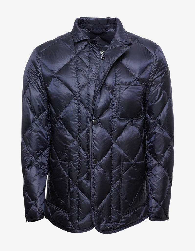 Herminier Navy Blue Quilted Down Jacket