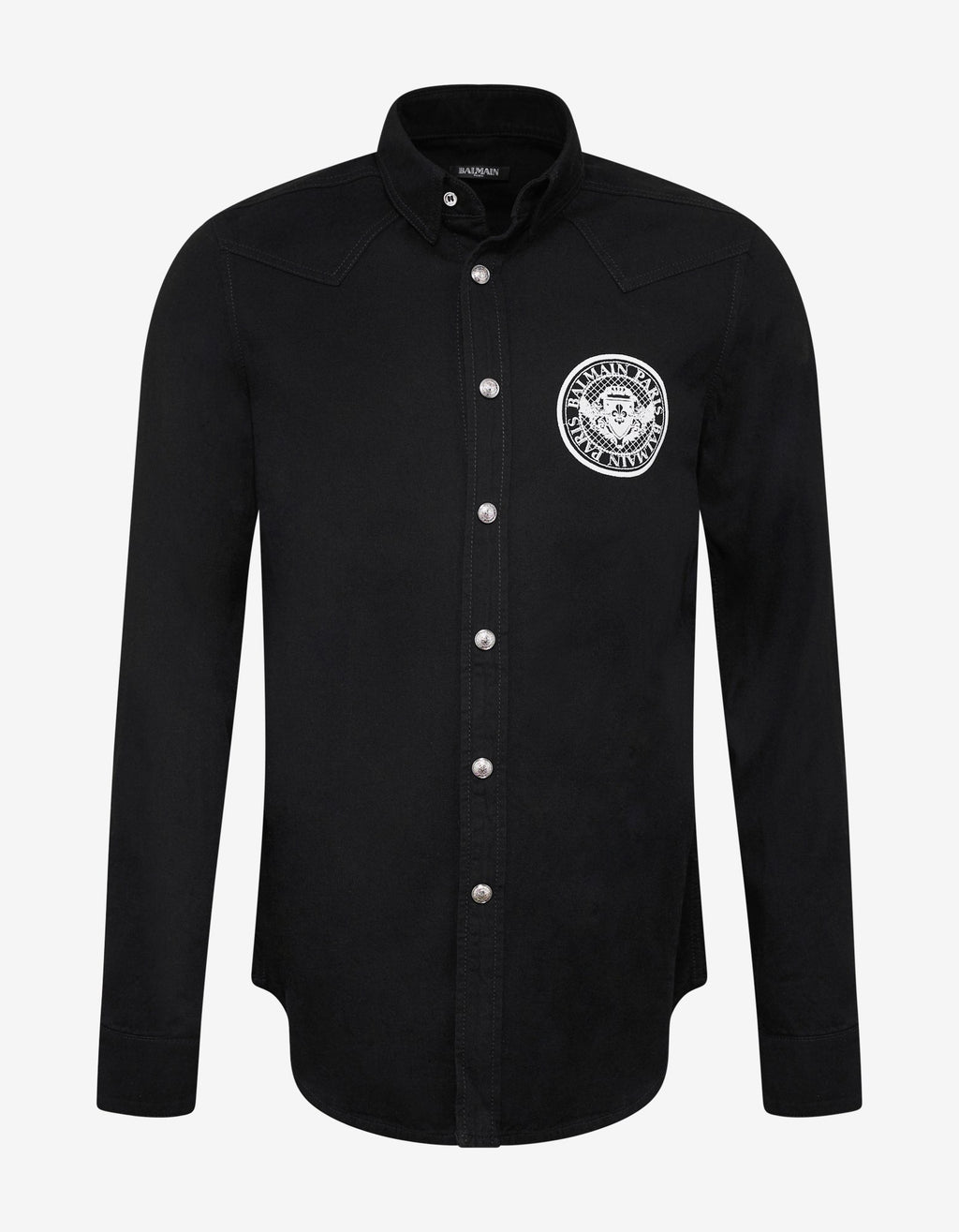 Black Logo Medallion Denim Shirt -
