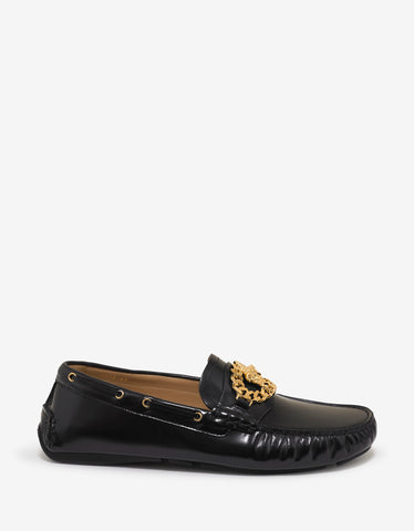 Versace Black Medusa Chain Driving Shoes
