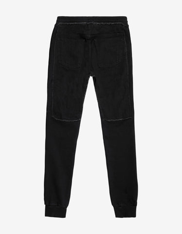 Balmain Black Denim Panel Biker Sweatpants