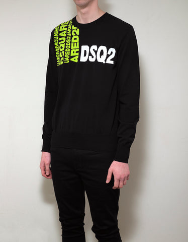 Dsquared2 Black Logo Jacquard Sweater