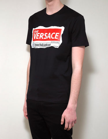Versace Black Tabloid Print T-Shirt