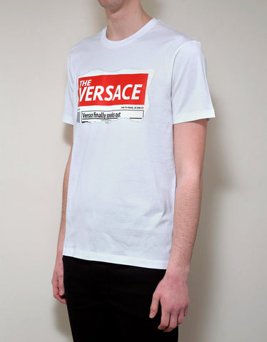 Versace White Tabloid Print T-Shirt