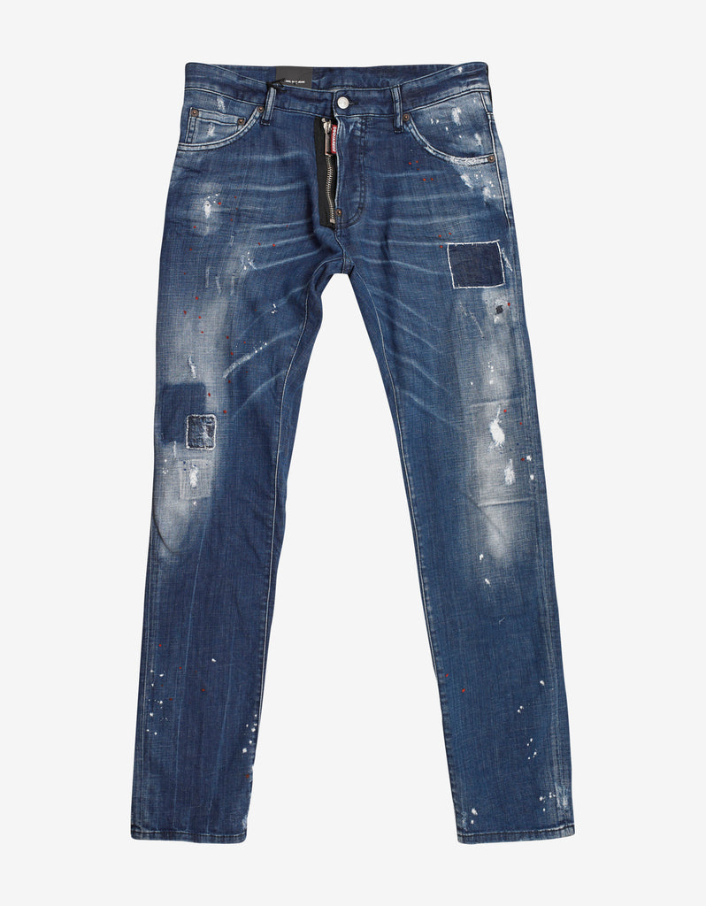 Blue Distressed Paint Splatter Cool Guy Jeans
