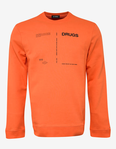 Raf Simons Orange Drugs Print Sweatshirt