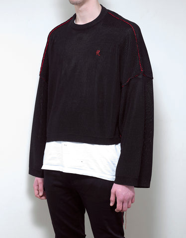 Raf Simons Black Cropped Sweater with Big Sleeves