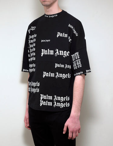 Palm Angels Black All-Over Logo Oversized T-Shirt