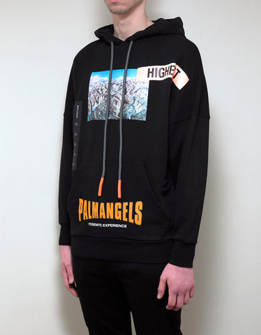 Palm Angels Black Yosemite Print Oversized Hoodie