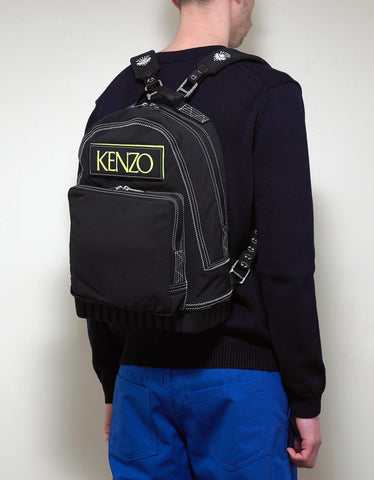 Kenzo Black Custo Logo Backpack