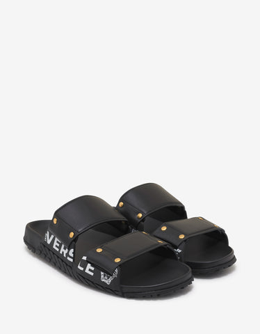 Versace Black Speed Logo Leather Sandals