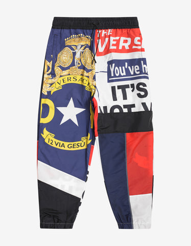 Versace Bandiera Print Sweat Pants
