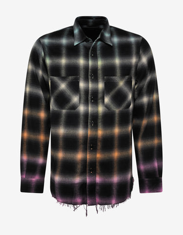 Amiri Ombre Plaid Rainbow Shirt