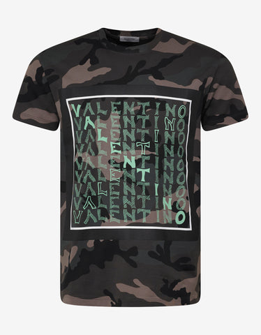 Valentino Green Camo V For Valentino T-Shirt