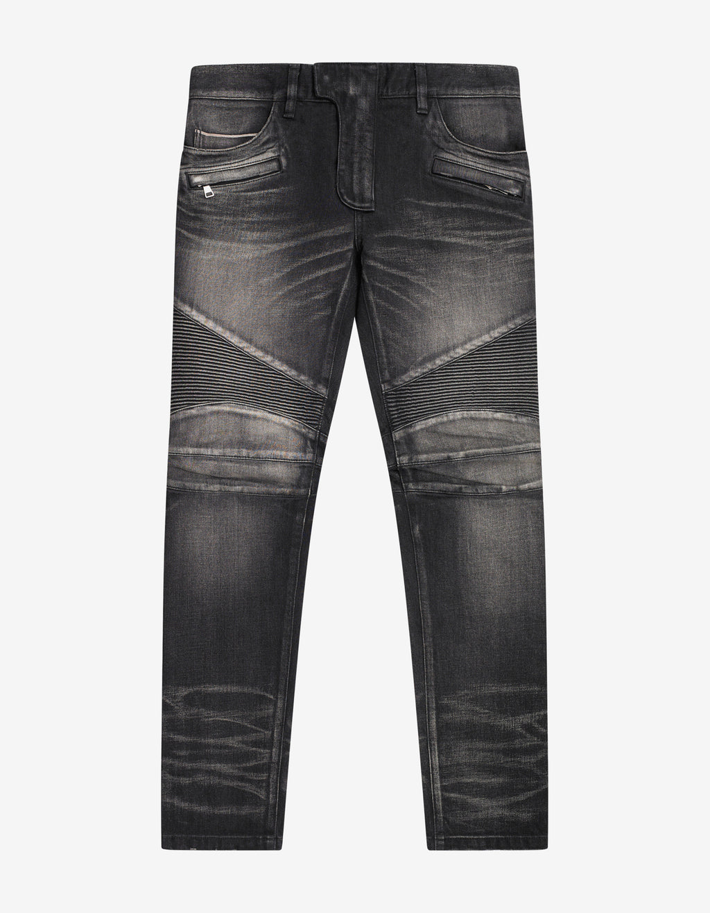 Wash Black Medallion Biker Jeans