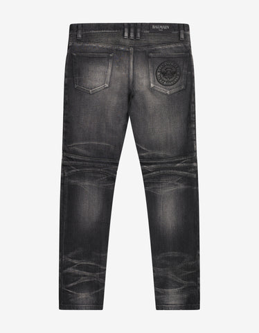 Balmain Wash Black Medallion Biker Jeans